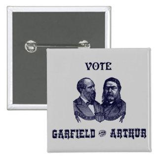 1880 voto Garfield y Arturo, azules Pin Cuadrada 5 Cm