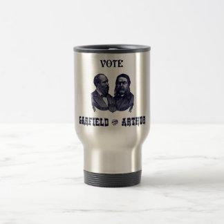 1880 voto Garfield y Arturo, azules Taza De Café