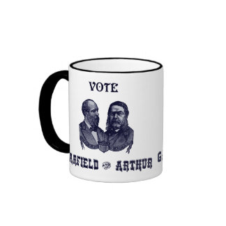 1880 voto Garfield y Arturo, azules Tazas