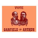 1880 voto Garfield y Arturo, rojos Tarjeta Postal