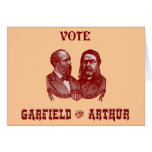 1880 voto Garfield y Arturo, rojos Tarjetas