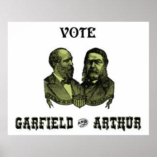 1880 voto Garfield y Arturo, verdes Poster