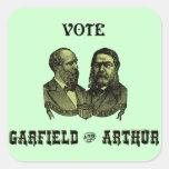 1880 voto Garfield y Arturo, verdes Calcomanía Cuadradas Personalizadas