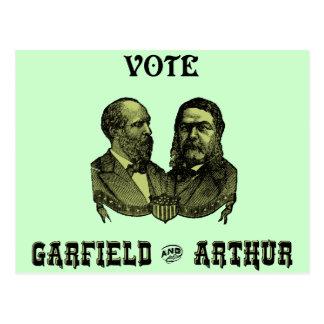 1880 voto Garfield y Arturo, verdes Postales