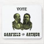 1880 voto Garfield y Arturo, verdes Tapetes De Ratón