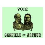 1880 voto Garfield y Arturo, verdes Tarjeta Postal