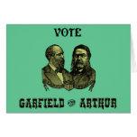 1880 voto Garfield y Arturo, verdes Tarjetas
