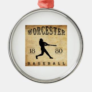 1880 Worcester Massachusetts Baseball Metal Ornament