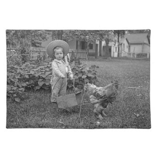 1880's Adorable Girl and Rooster Cart in Garden Cloth Placemat