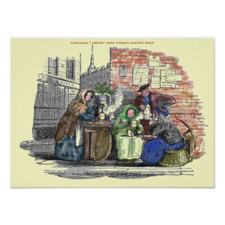 """1880's-England-Street hot coffee vender"" Poster"
