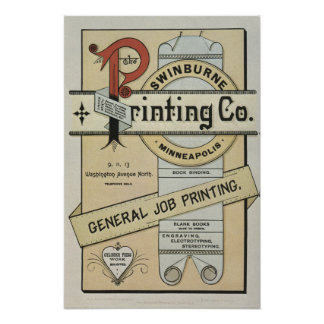 1880's letterpress printing advertisement poster