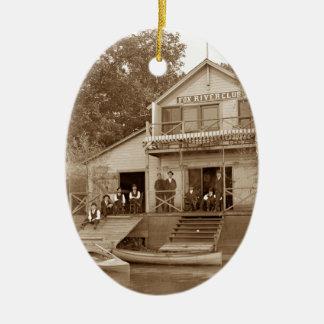 1880's Men Club Fox River Club Fishing Elgin Ceramic Ornament