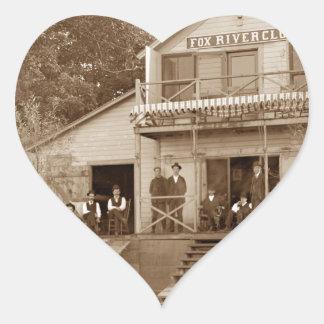 1880's Men Club Fox River Club Fishing Elgin Heart Sticker