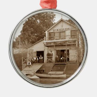 1880's Men Club Fox River Club Fishing Elgin Metal Ornament
