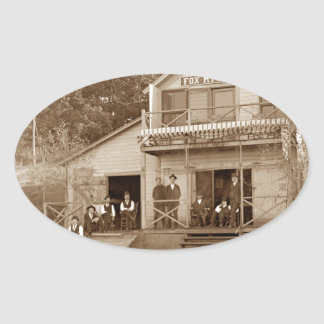 1880's Men Club Fox River Club Fishing Elgin Oval Sticker