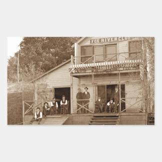 1880's Men Club Fox River Club Fishing Elgin Rectangular Sticker