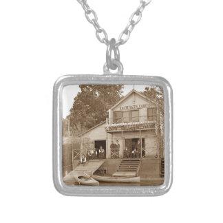 1880's Men Club Fox River Club Fishing Elgin Silver Plated Necklace