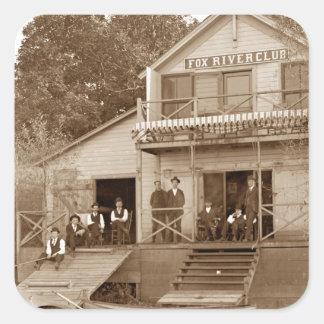 1880's Men Club Fox River Club Fishing Elgin Square Sticker