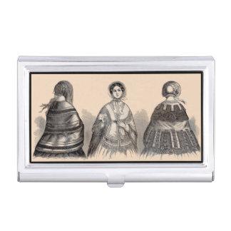1880s Victorian shawls fashion print Business Card Case