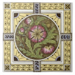 """1880s Yellow Rose Multi Transferware Tile Repro<br><div class=""""desc"""">Transferware tiles were originally produced using a decorative technique that was developed in England in the mid-1700s. Although transferware designs were sometimes filled in with color glazes by hand, the design was first fired onto the tile, which made decorative tiles and other items printed using this method more affordable than...</div>"""