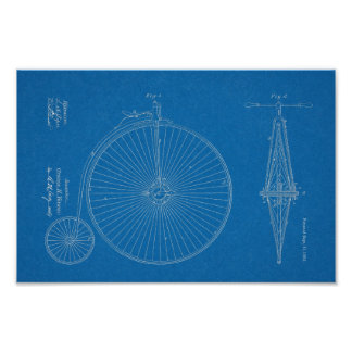 1881 High Wheeler Bicycle Design Patent Art Print