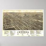 1881 Jackson, mapa panorámico de la opinión de ojo Poster