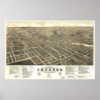 1881 Jackson, MI Birds Eye View Panoramic Map Poster