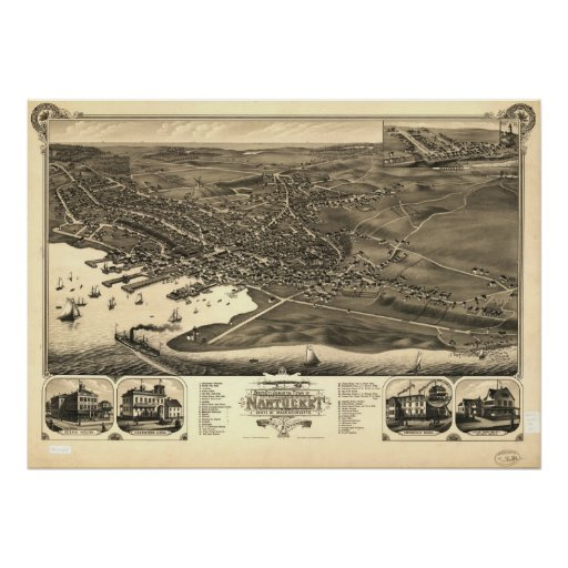 1881 Nantucket, MA Birds Eye View Panoramic Map Poster