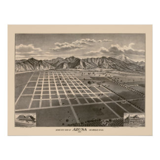1881 Panoramic Map Birds Eye View of Azusa, CA Poster