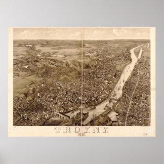 1881 Troy, mapa panorámico de la opinión de ojo de Póster