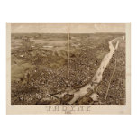1881 Troy, NY Birds Eye View Panoramic Map Print