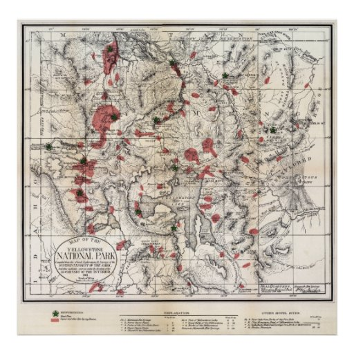 1881 YELLOWSTONE PARK MAP POSTER