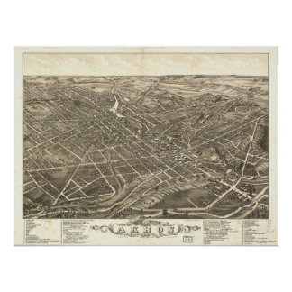 1882 Akron, OH Birds Eye View Panoramic Map Poster