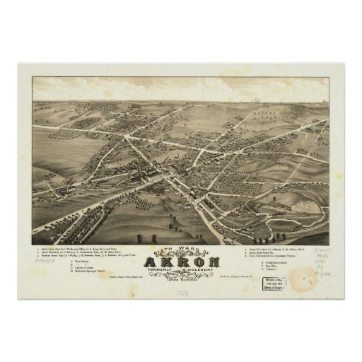 1882 Akron, OH Birds Eye View Panoramic Map Posters