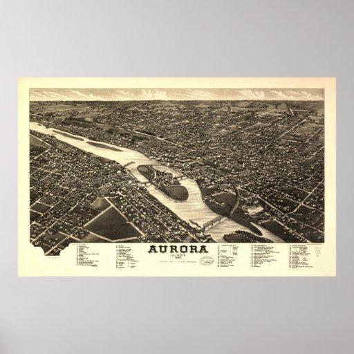 1882 aurora, mapa panorámico de la opinión de ojo  posters