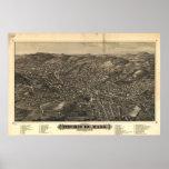 1882 Fitchburg, MA Birds Eye View Panoramic Map Print