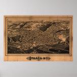 1882 Ithaca, mapa panorámico de la opinión de ojo  Impresiones