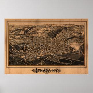 1882 Ithaca, mapa panorámico de la opinión de ojo  Póster