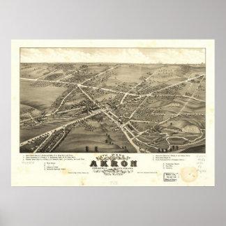1882 mapa panorámico de la opinión de ojo de pájar póster