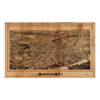 1882 Schenectady, mapa panorámico de la opinión de Póster