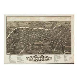 1882 Youngstown, OH Birds Eye Panoramic Map Poster