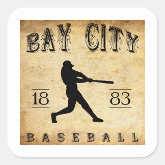 1883 Bay City Michigan Baseball Square Stickers