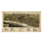 1883 Brownsville, PA Birds Eye View Panoramic Map Posters