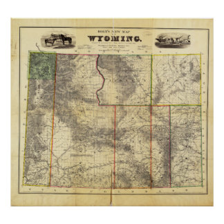 1883 Holt s New Map of Wyoming by Frank Bond Print
