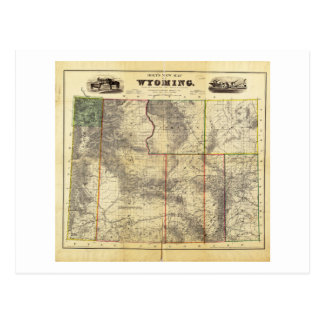 1883 Holt's New Map of Wyoming by Frank Bond Postcard