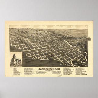 1883 Jamestown, ND Birds Eye View Panoramic Map Poster