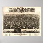 1883 Kalamazoo, mapa panorámico de la opinión de o Posters