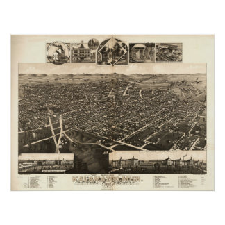 1883 Kalamazoo, MI Birds Eye View Panoramic Map Poster