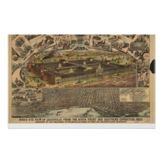 1883 Louisville, KY Birds Eye View Panoramic Map Print