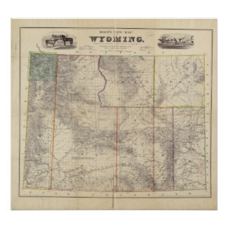 1883 Map of Wyoming Poster